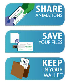 Share animations, save your files, and keep in your wallet